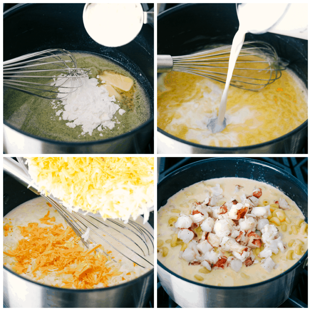 Making the roux, adding the cheese and lobster to the cheese sauce.