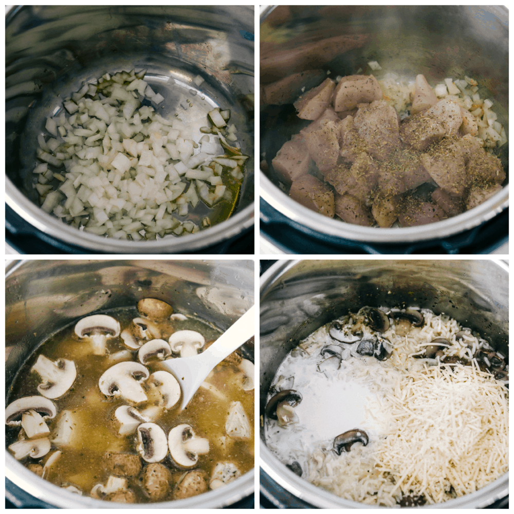 Sauteing onions, chicken and making chicken and rice.
