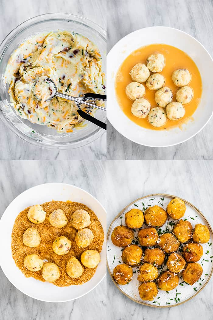 4 pictures showing how to make mashed potato balls