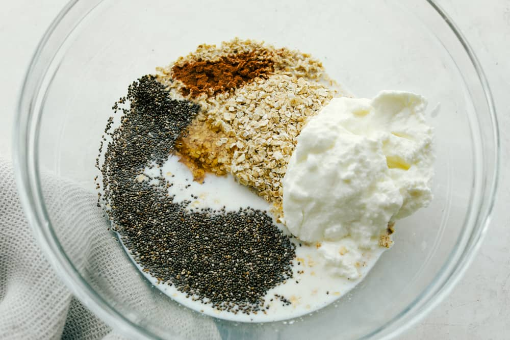 The basic ingredients for making over night oats.