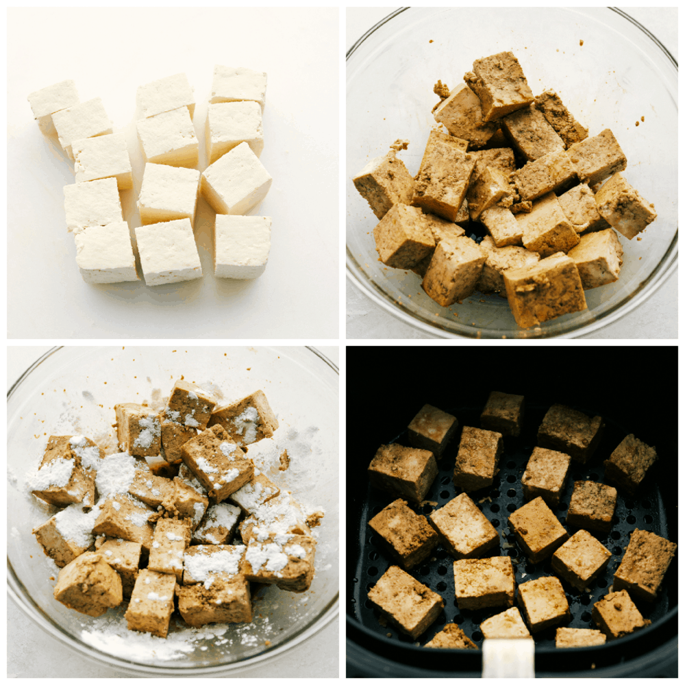 Tofu being prepared and seasoned for the air fryer.