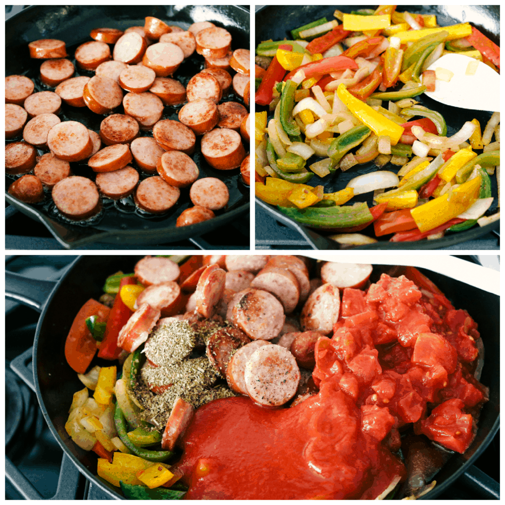 Cooking the sausage and the peppers and onions, then adding in the tomatoes in the skillet.