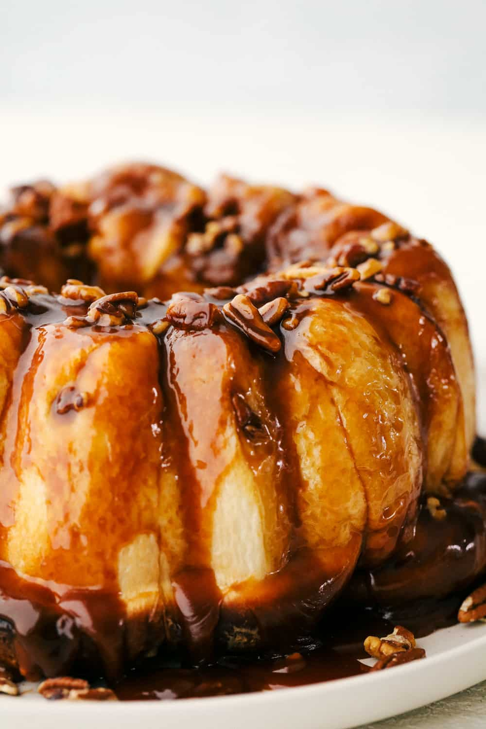 Sticky buns with caramel sauce ready to eat.