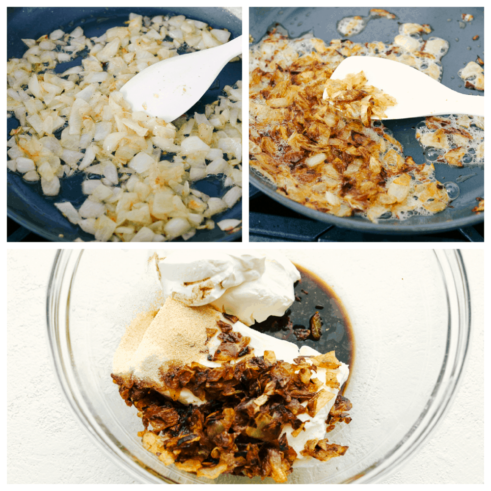 sauteing onions, and mixing with the ingredients for French Onion Dip.