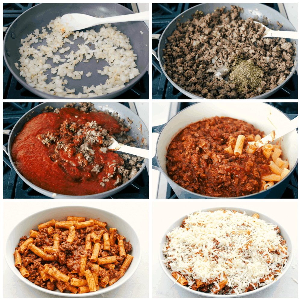 Making the meaty sauce and adding the noodles and cheese for Rigatoni.