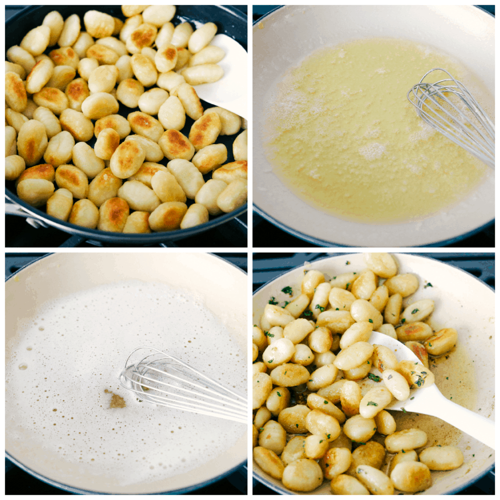 Frying the gnocchi, browning the butter and tossing it all together.