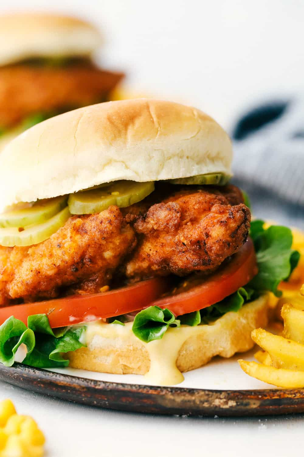 Copycat Chick-Fil-A Sandwich with fries on a plate.
