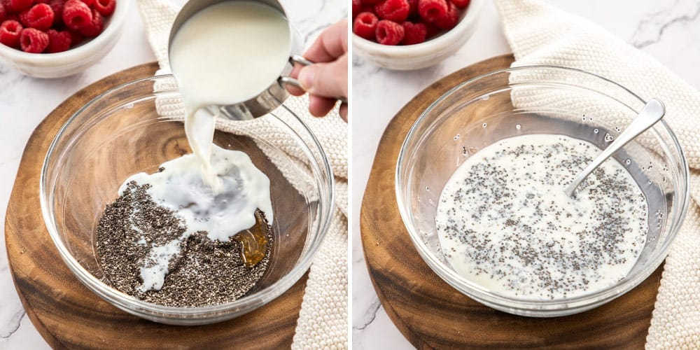 Mixing together milk and chia seeds in a glass bowl
