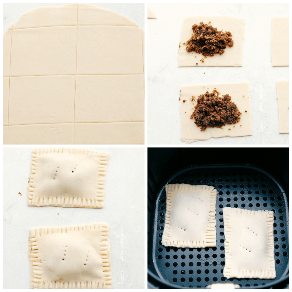 Pie dough, brown sugar filling and ready to bake air fryer pop tarts.