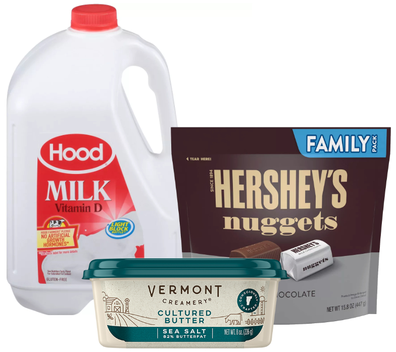 HP Hood milk, Hershey family size pack, and Vermont Creamery butter
