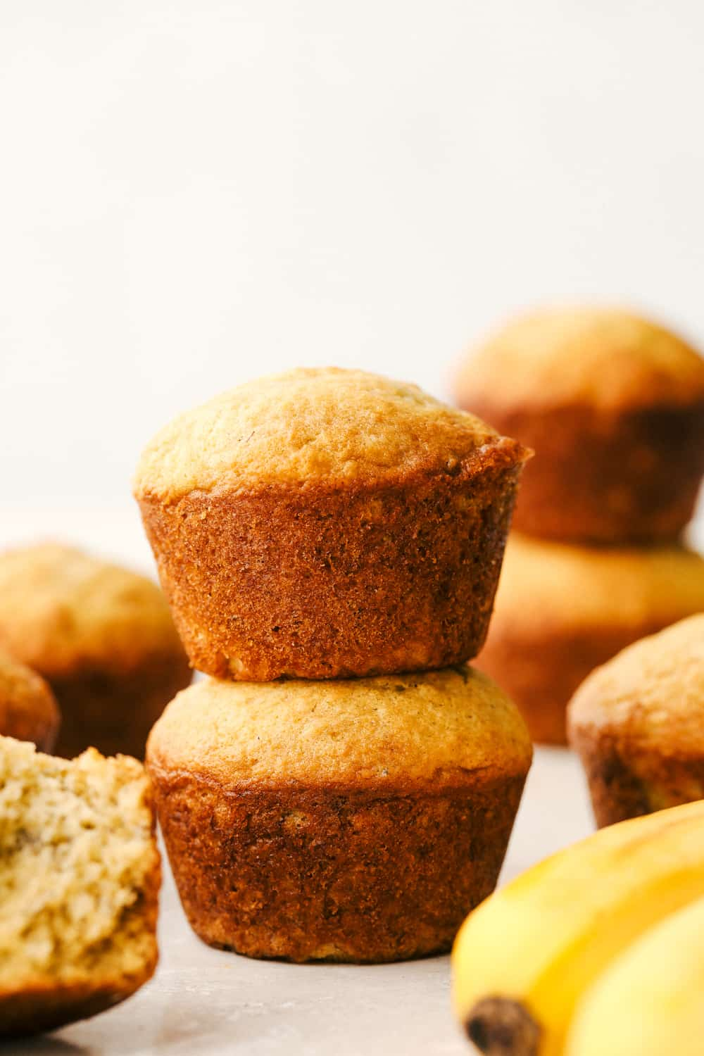 Two muffins stacked on top of eachother.