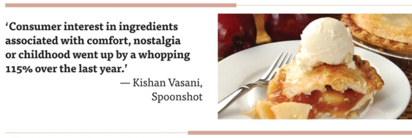 """""""Consumer interest in ingredients associated with comfort, nostalgia or childhood went up by a whopping 115% over the last year,"""" said Kishan Vasani, co-founder and chief executive officer of Spoonshot."""