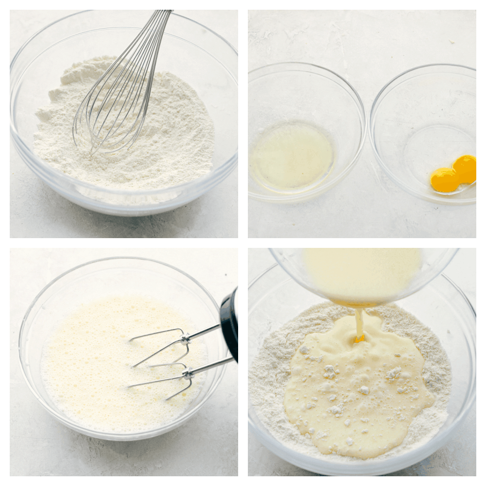 Mixing the dry ingredients and wet and then combining them together.
