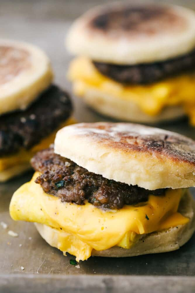 Egg, sausage and cheese on an English muffin.