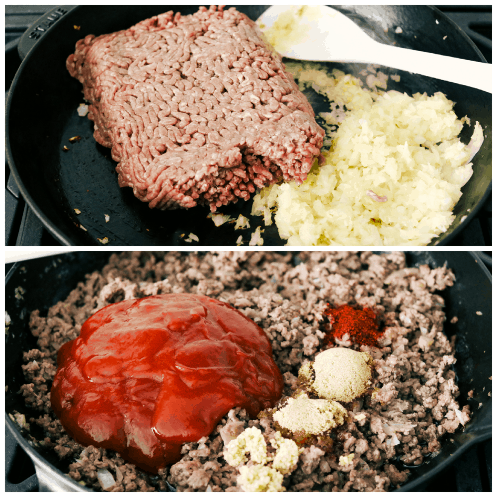 Cooking the hamburger and sauteing the onions and adding the seasonings.