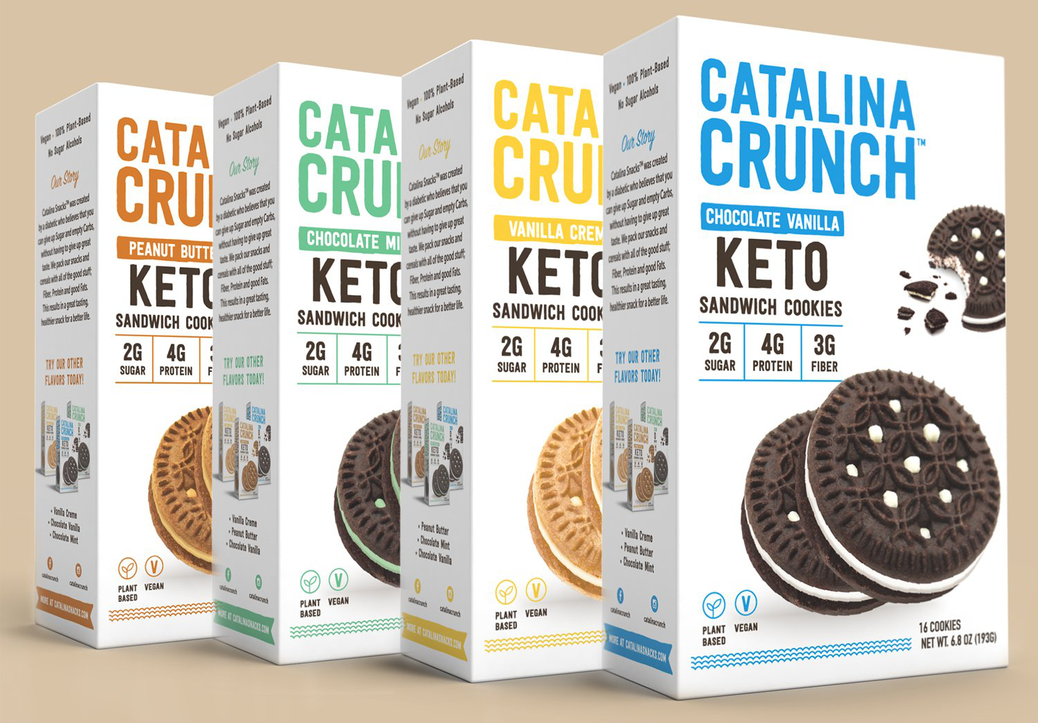 Variety of keto-friendly cookies from Catalina Crunch