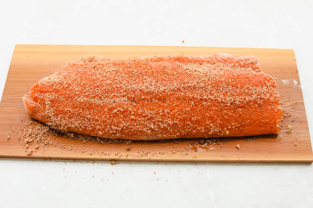 Salmon with dry rub added.