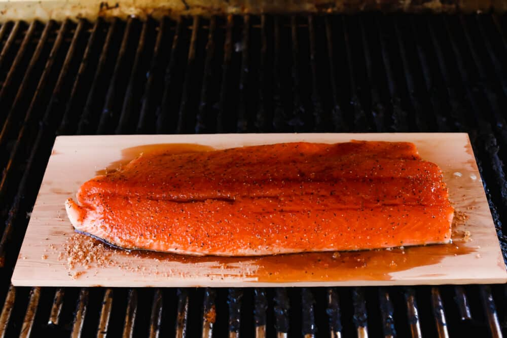 Cooked salmon with honey lime glaze added on top.