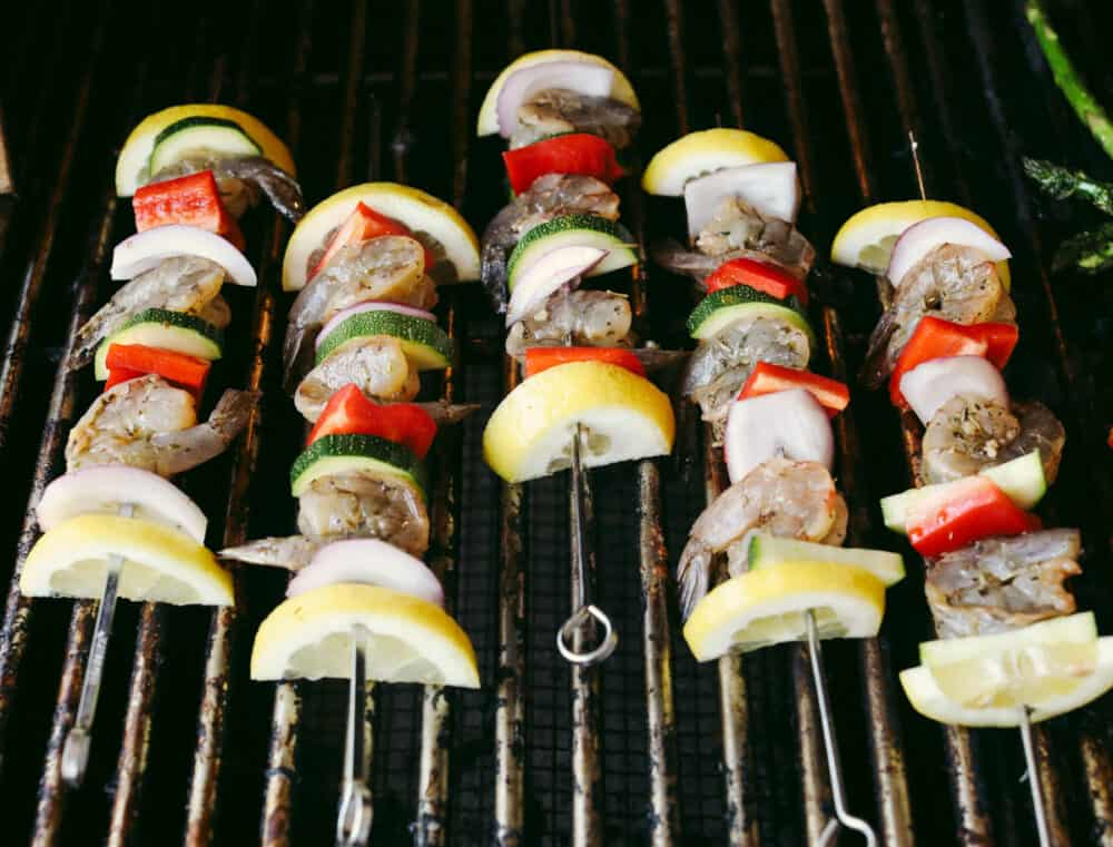 Shrimp kabobs on the grill.