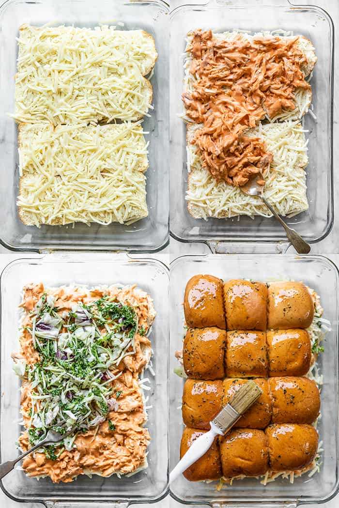 4 pictures showing how to make buffalo chicken sliders.
