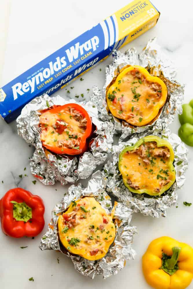 Grilled stuffed bell peppers in the
