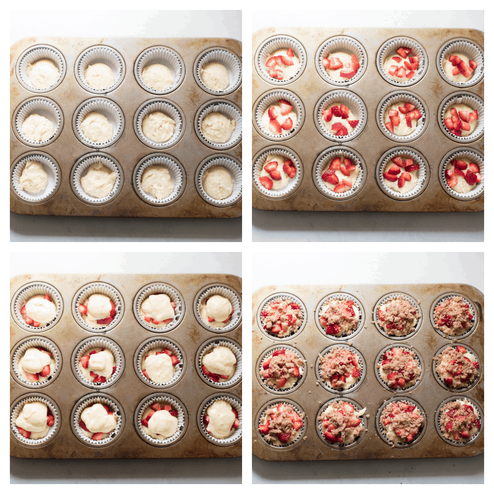 Four photos with the process of making Strawberry streusel muffins.