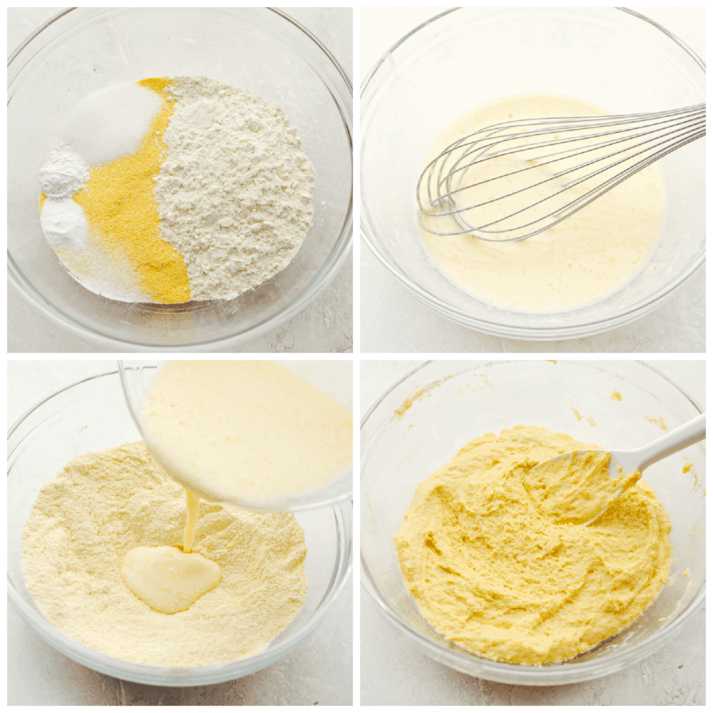 A bowl with the dry ingredients, a separate bowl of the wet ingredients, and then mixing them together.