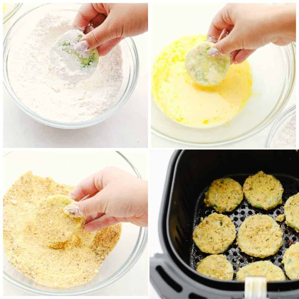4 pictures showing the steps to make fried green tomatoes.