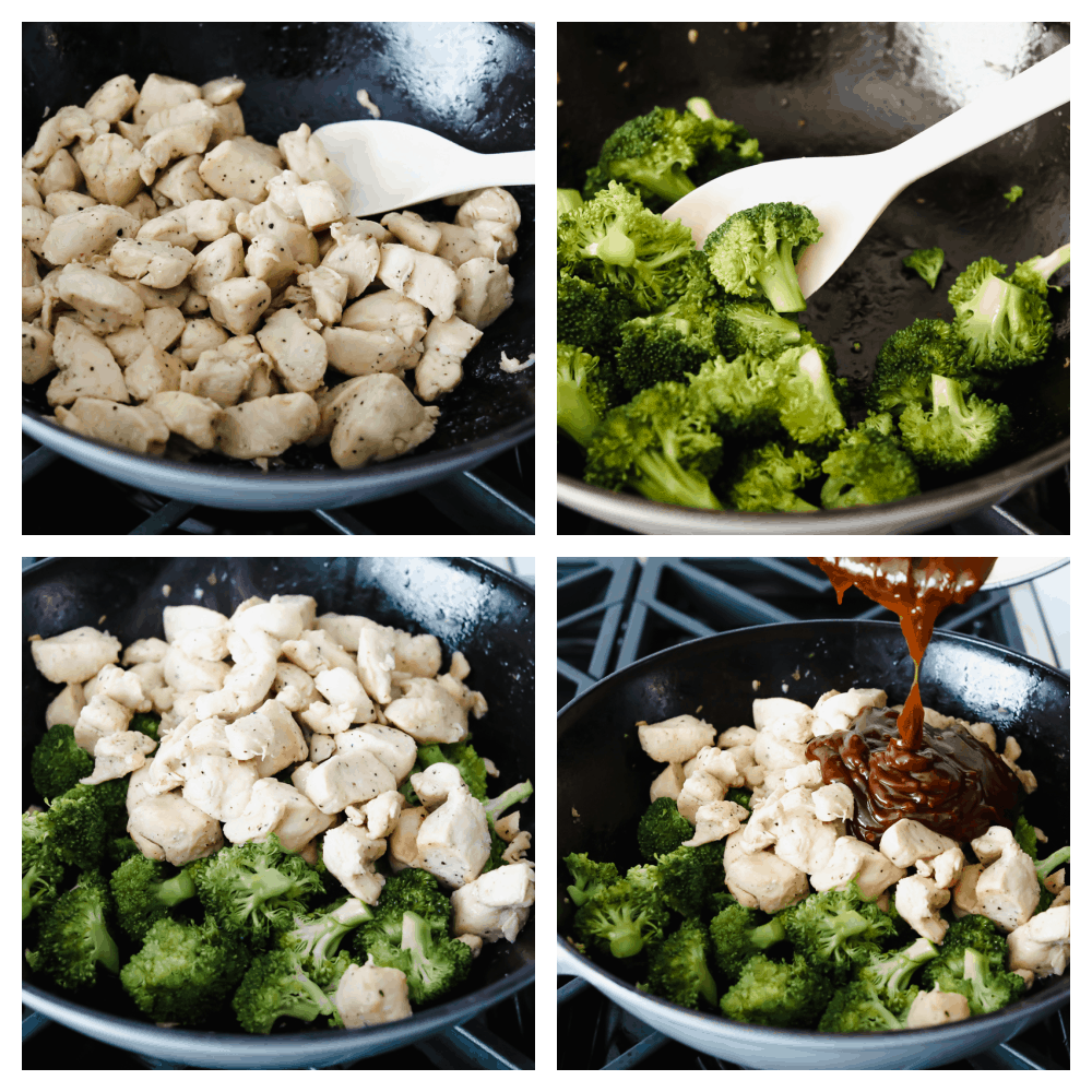 Process shots of stir-frying meat and vegetables.