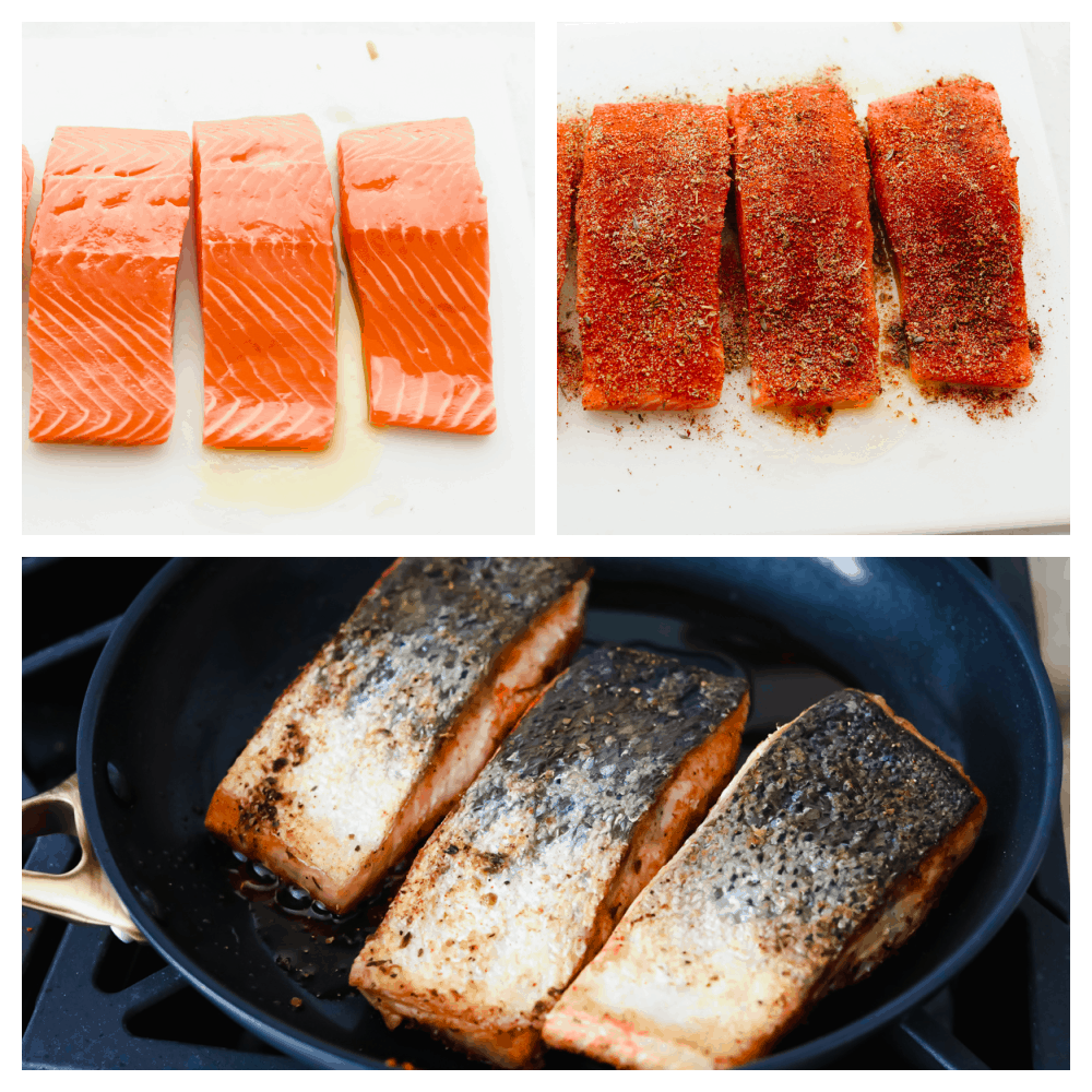Fresh salmon, coated in blackened spices and seared in a skillet on the stove.