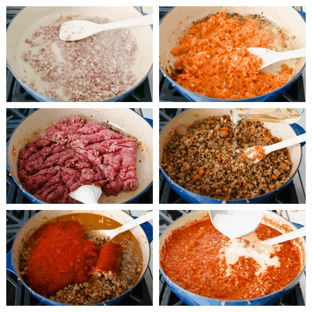 6 pictures of the process of putting together the ingredients of the sauce.
