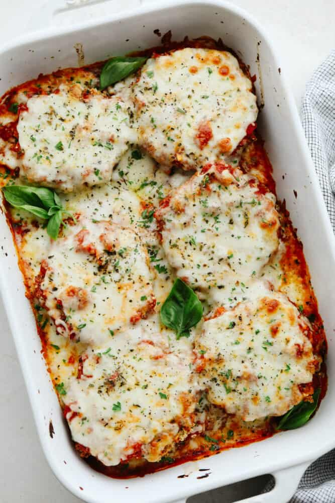 Eggplant parmesan in a baking dish.