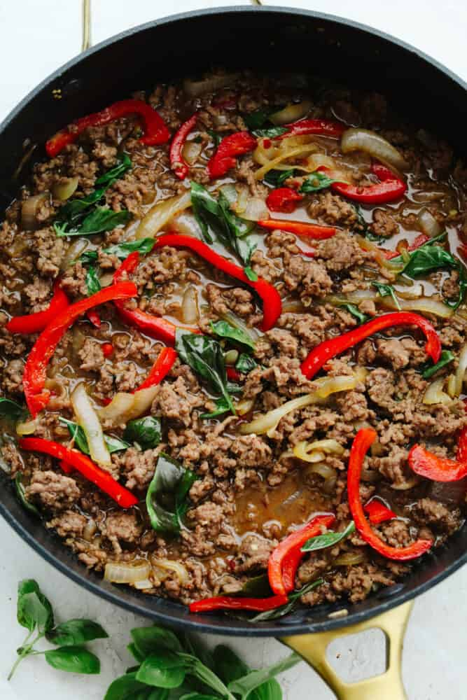 Ingredients cooking in a pan.